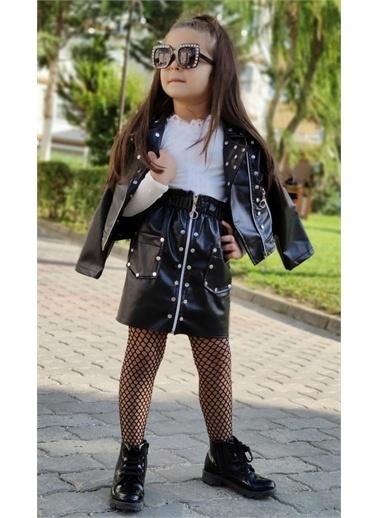 Riccotarz Kız Çocuk Siyah Deri 3lü Etekli Takım Renkli